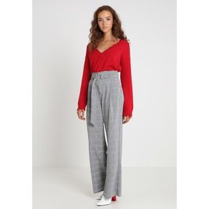 🆕 Gray High Waist Check Wide Leg Belt Trousers